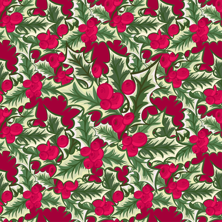 christmas flower: Abstract texture with holly. Seamless pattern with Christmas flower bouquet ornament. Vector illustration