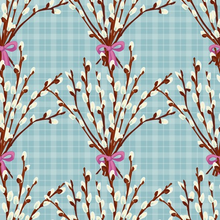 Abstract texture with pussy willow. Seamless pattern with festive flower bouquet ornament. Vector illustration