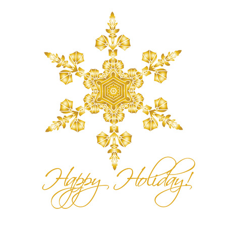 golden color: Christmas background with hand-drawn realistic snowflake Isolated on white.  Golden color. Vector illustration Illustration