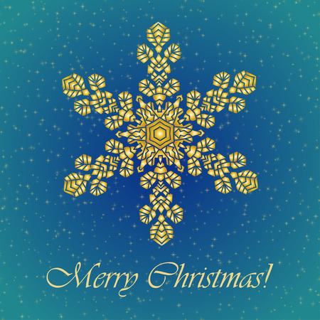 golden color: Christmas background with hand-drawn realistic snowflake.  Golden color. Vector illustration