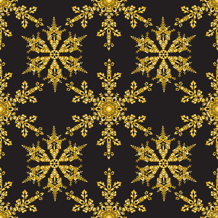 golden color: Reach christmas seamless background with hand-drawn realistic snowflake.  Golden color on black. Vector illustration