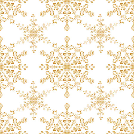 golden color: Reach christmas seamless background with hand-drawn realistic snowflake.  Golden color on white. Vector illustration