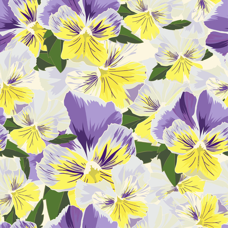 pansies: Set of flowers pansies with leafs in realistic hand-drawn style  Vector illustration.