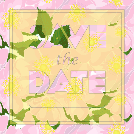 dogrose: Floral greeting card with text Save the date in realistic hand-drawn style. Seamless pattern with dog-rose flower bouquet ornament