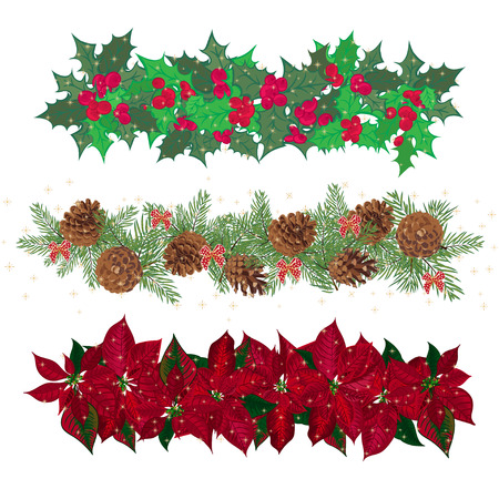 Set festive garlands of holly berry and  cineraria. Vector illustration Ilustração