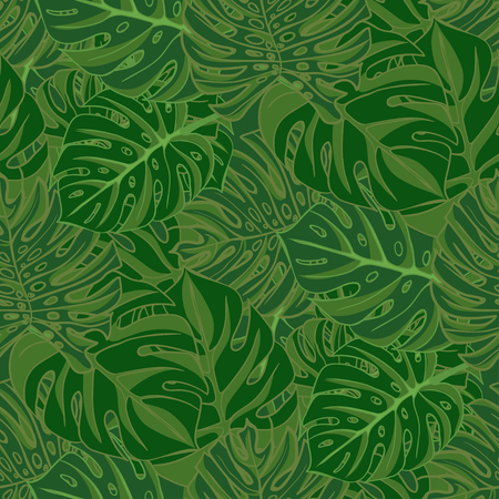 tropicana: Tropical monstera leaves. realistic drawing in vintage style. Seamless background. Vector illustration Illustration