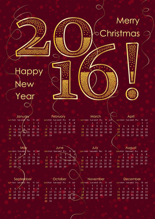 a3: 2016 calendar typography inscription in gold color. A3 format, Vector illustration