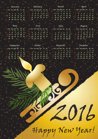 a3: 2016 calendar with whinter symbols  in gold color. A3 format, Vector illustration