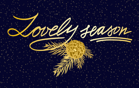 greeting season: Merry Christmas Lettering greeting card with text  Lovely  season. Vector illustrations
