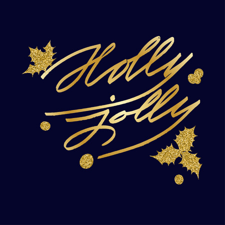 jolly: Merry Christmas Lettering greeting card with text  Holly Jolly. Vector illustrations
