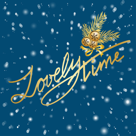 merry time: Merry Christmas Lettering greeting card with text  Lovely  time. Vector illustrations