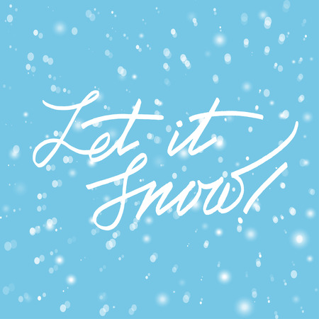 let: Merry Christmas Lettering greeting card with text  Let it snow. Vector illustrations