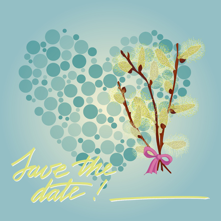 pussy willow: Greeting wedding card with flower. Vector illustration