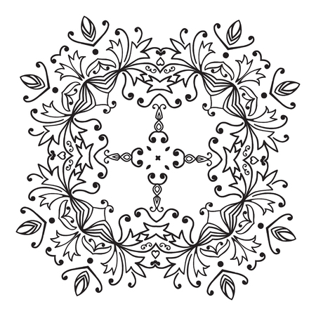 belorussian: Hand drawing zentangle floral decorative frame. Black and white. Flower mandala. Vector illustration. The best for your design, textiles, posters, tattoos, corporate identity