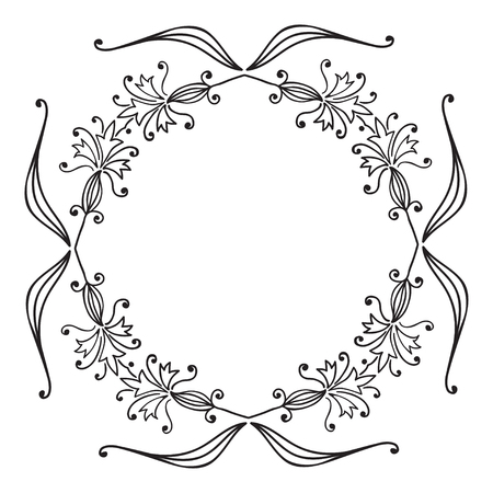 polish lithuanian: Hand drawing zentangle floral decorative frame. Black and white. Flower mandala. Vector illustration. The best for your design, textiles, posters, tattoos, corporate identity
