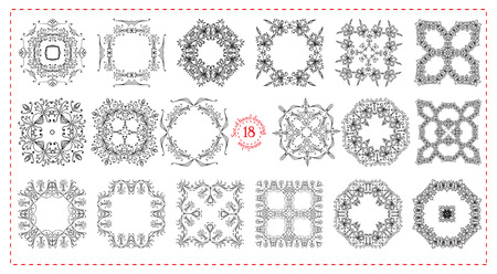white tile: Set hand drawing zentangle floral decorative frame. Black and white. Flower mandala. Vector illustration. The best for your design, textiles, posters, tattoos, corporate identity