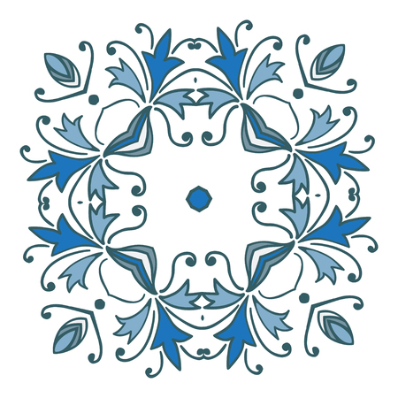 baltic: Hand drawing zentangle floral decorative color frame. Vector illustration. The best for your design, textiles, posters, tattoos, corporate identity