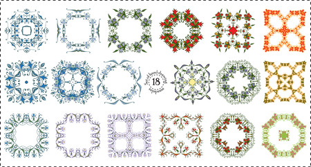Set hand drawing color zentangle floral decorative frame. Flower mandala. Vector illustration. The best for your design, textiles, posters, tattoos, corporate identity