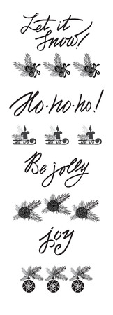 ho: Set of lettering, calligraphic text elements in vintage style. Christmas and New Year design collection,
