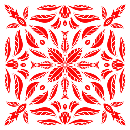 majolica: Hand drawing mandala element, red flower silhouette. Italian majolica style Vector illustration. The best for your design, textiles, posters, tattoos, corporate identity