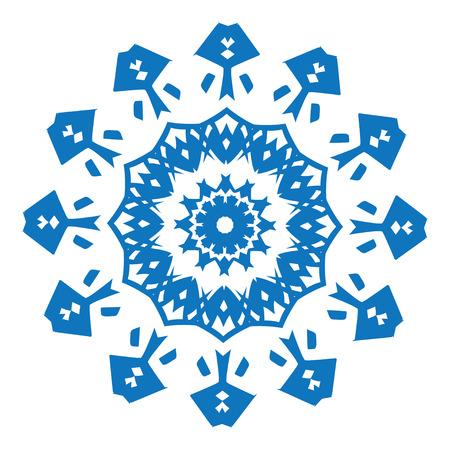 dessin fleur: Bleu silhouette de flocon de neige sur fond blanc Illustration