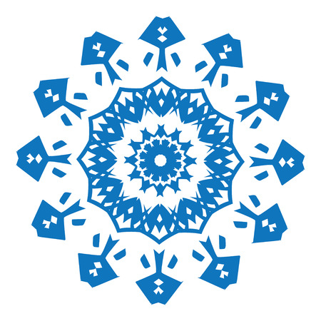 flower designs: Blue silhouette of snowflake on white background