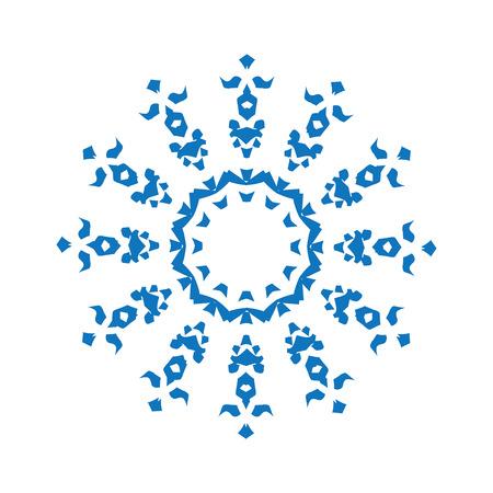 tatouage fleur: Bleu silhouette de flocon de neige sur fond blanc Illustration