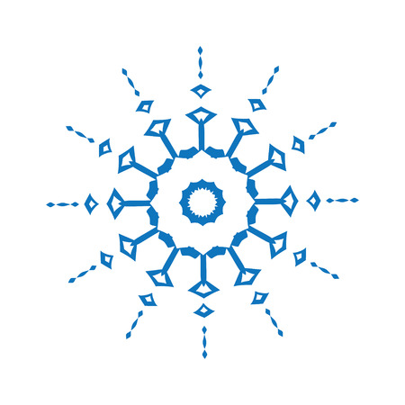 winter flower: Blue silhouette of snowflake on white background