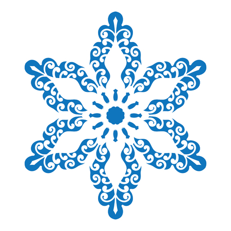 star ornament: Blue silhouette of snowflake on white background Vector illustration