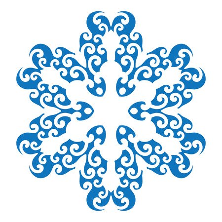 star ornament: Blue silhouette of snowflake on white background
