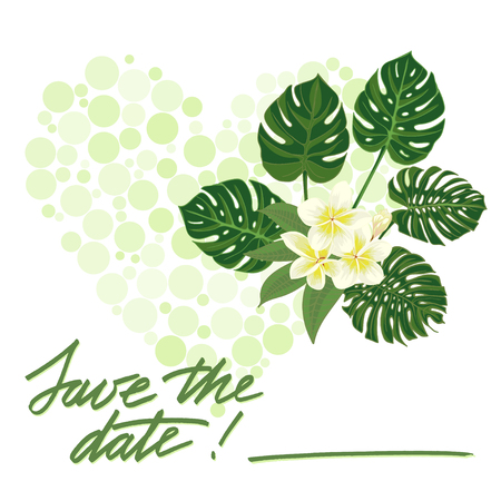 tropicana: Greeting wedding card with tropical  flower.  Illustration