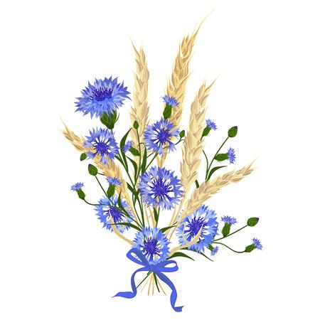 Schöne Strauß Kornblumen und Weizen Ährchen, gebunden mit Seidenband isoliert auf weiß. Die beste Idee für Grußkarten, Einladungen, Hochzeit Design