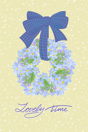 flowerbed: Greeting wedding card with flower wreath . Vector illustration