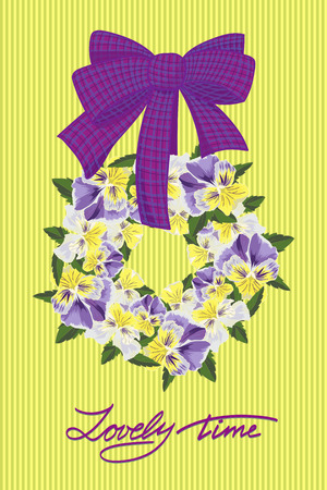 Biglietto di auguri di nozze con ghirlanda di fiori. Illustrazione vettoriale