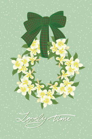palm wreath: Greeting wedding card with flower wreath . Vector illustration