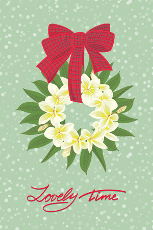philodendron: Greeting wedding card with flower wreath . Vector illustration
