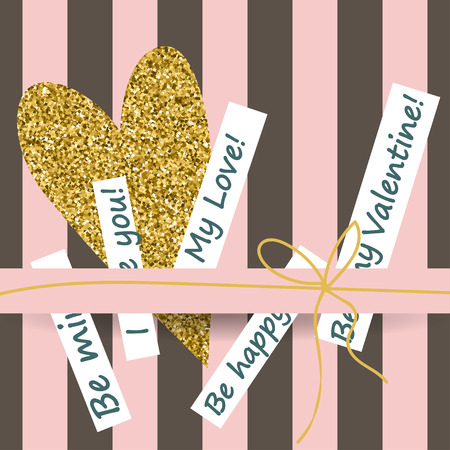 white day: Creative Valentines day cards in pink, gold and white. Vector illustration Illustration