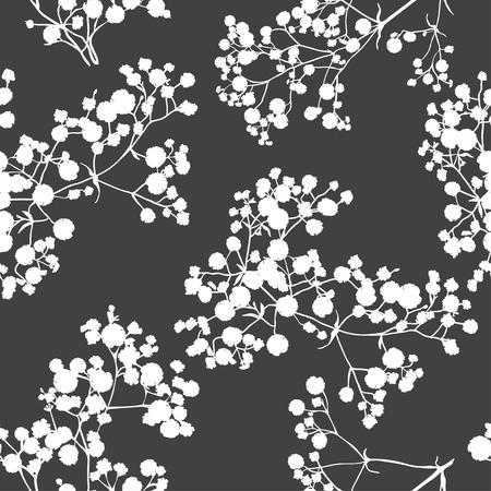 De fondo sin fisuras con las ramas de la bella silueta gypsophila dibujado a mano en colores blanco y negro.