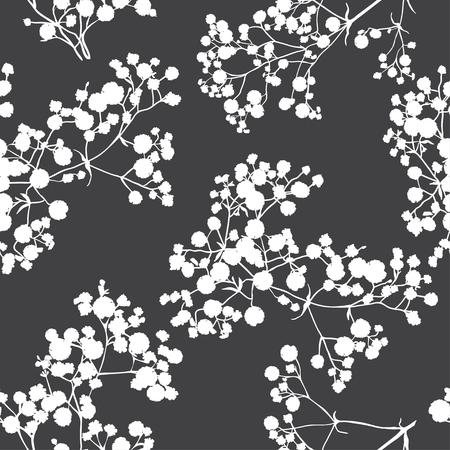 Seamless background with branches of beautiful hand-drawn silhouette gypsophila in black and white colors.