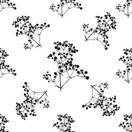 De fondo sin fisuras con las ramas de la bella silueta gypsophila dibujado a mano en colores blanco y negro. Ilustración de vector