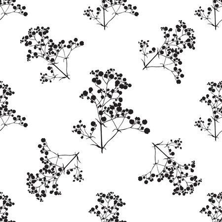 Seamless background with branches of beautiful hand-drawn silhouette gypsophila in black and white colors. Ilustração