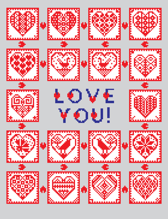 polish lithuanian: Love ornament greeting card in ethnic style with hearts, birds and flowers. Traditional folklore characters. Cross-stitch.  Illustration