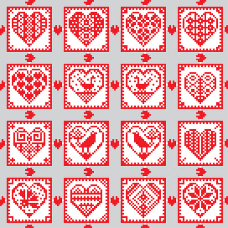Love ornament seamless background in ethnic style in ethnic style with hearts, birds and flowers. Traditional folklore characters. Cross-stitch.