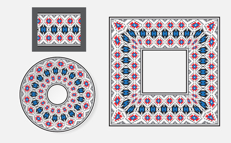 belorussian: Set of Ethnic ornament pattern brushes and examples of use . Vector illustration. From collection of Balto-Slavic ornaments