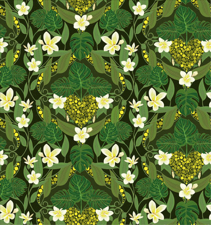 philodendron: Deco seamless pattern with flowers frangipani and leaves monstera. Vector illustrations