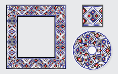 baltic: Set of Ethnic ornament pattern brushes and examples of use . Vector illustration. From collection of Balto-Slavic ornaments