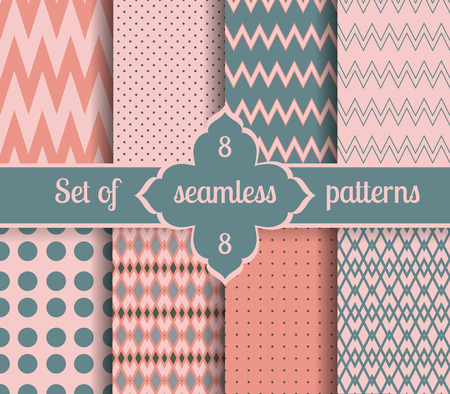 scalloped: Set rose quartz and serenity geometric Patterns.  2016 colors of the year. Vector illustrations.