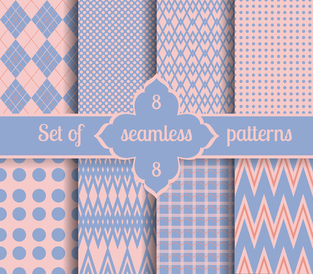 serenity: Set rose quartz and serenity geometric Patterns.  2016 colors of the year. Vector illustrations.