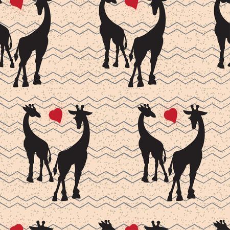 Naadloos uitstekend patroon met giraffe. Zwarte silhouet. vector illustratie