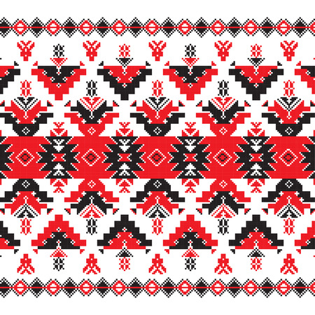 belorussian: Set of Ethnic ornament pattern in in red and black colors. Vector illustration. From collection of Balto-Slavic ornaments